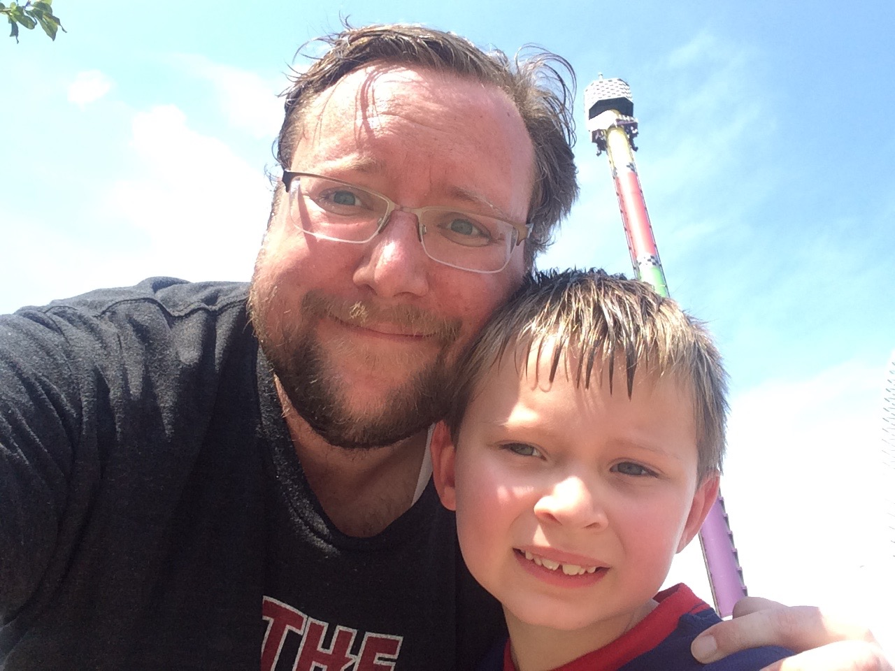 My son and I after a day at King's Island
